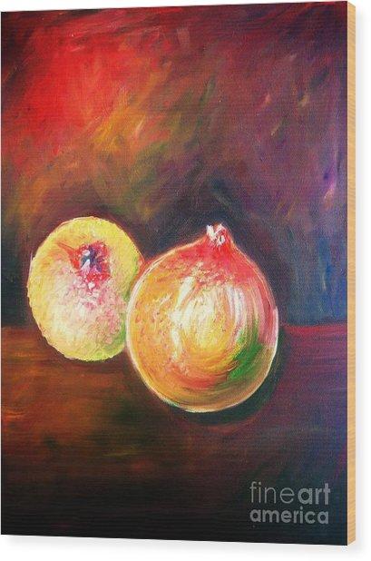 Pomegranates From My Garden Wood Print by Anastasis  Anastasi
