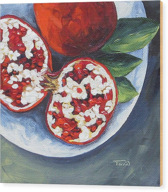 Pomegranates On A Plate  Wood Print by Torrie Smiley