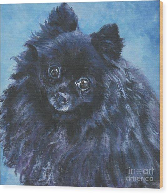 Pomeranian Black Wood Print