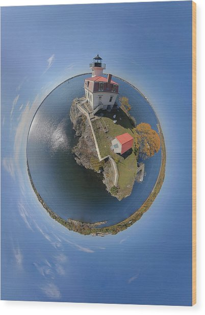 Pomham Rocks Lighthouse Little Planet Wood Print by Christopher Blake