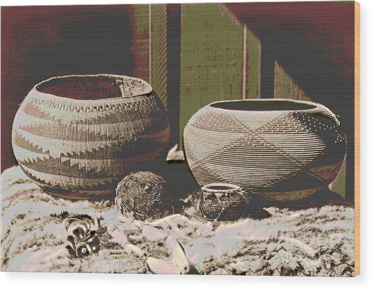 Pomo Baskets And Magnesite Beads Wood Print