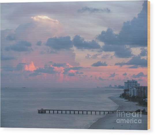 Pompano Pier At Sunset Wood Print