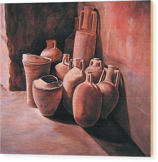 Pompeii - Jars Wood Print