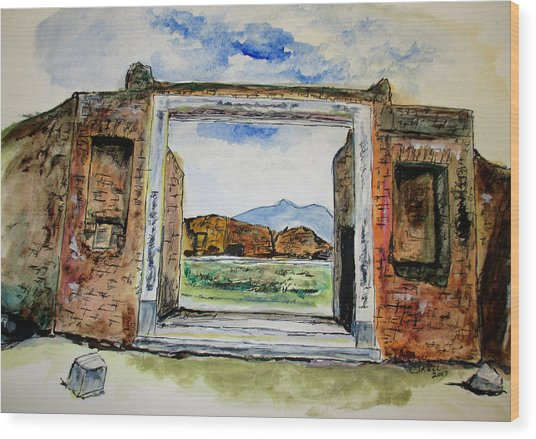 Pompeii Doorway Wood Print