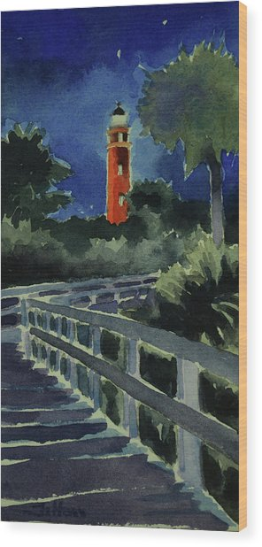 Ponce Inlet Lighthouse Before Dawn 7-5-17 Wood Print
