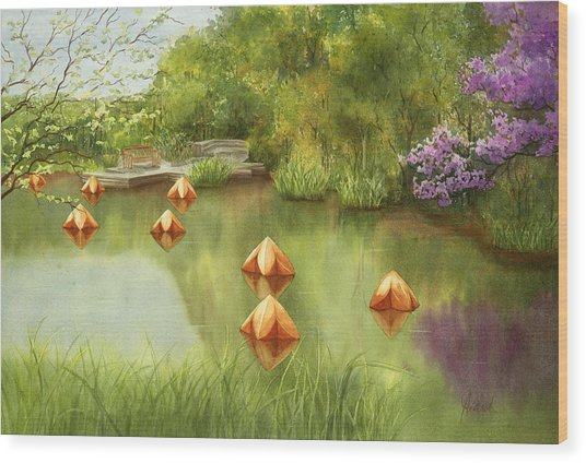 Pond At Olbrich Botanical Garden Wood Print