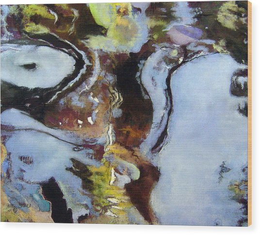 Pond Currents Wood Print by Anita Stoll
