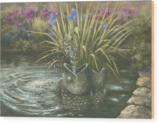 Pond Fountain Wood Print