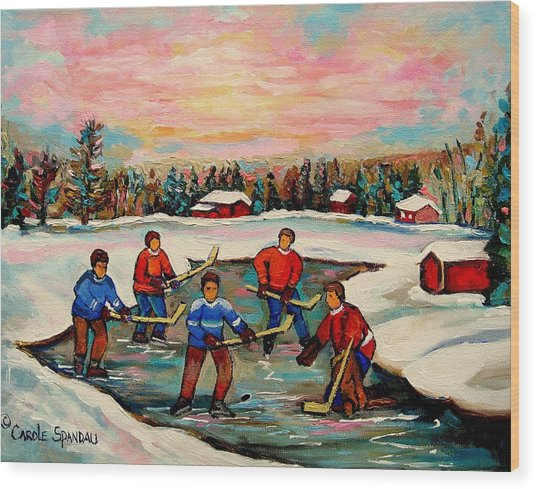 Pond Hockey Countryscene Wood Print