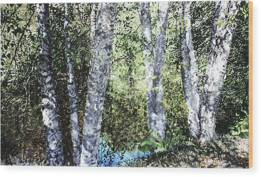 Pond Reflection Wood Print by Perry Woodfin