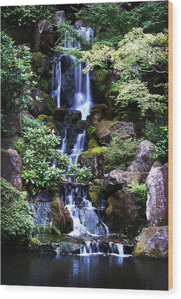 Pond Waterfall Wood Print