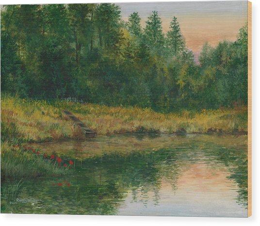 Pond With Spider Lilies Wood Print