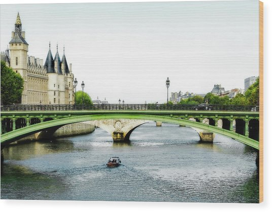 Pont Au Change Over The Seine River In Paris Wood Print