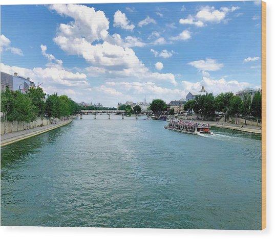 River Seine At Pont Du Carrousel Wood Print