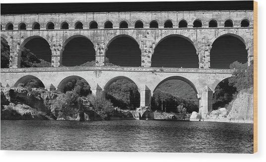 Pont Du Gard Panorama Wood Print