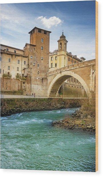 Ponte Fabricio And Tiber Island Rome Italy Wood Print