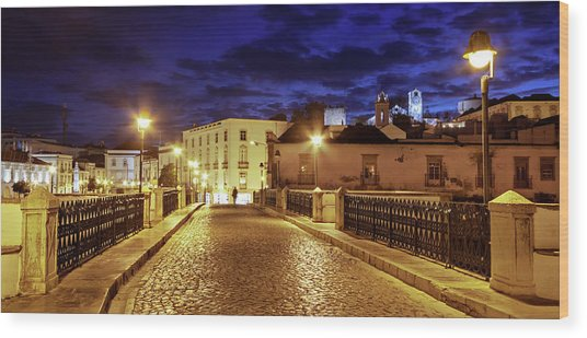 Wood Print featuring the photograph Ponte Romana At Blue Hour / Tavira, Portugal by Barry O Carroll
