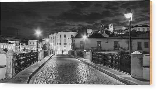 Wood Print featuring the photograph Ponte Romana At Night - Tavira, Portugal by Barry O Carroll
