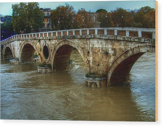 Ponte Sisto Bridge Rome Wood Print
