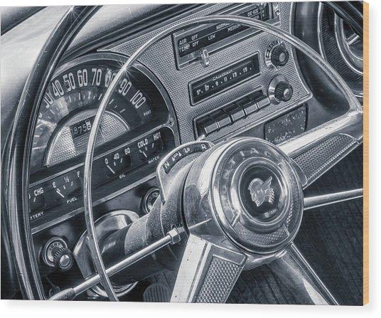 Pontiac Chieftain Dash And Steering Wheel Wood Print