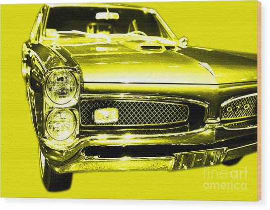 Pontiac Gto Yellow Wood Print by Wingsdomain Art and Photography