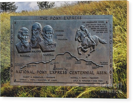 Pony Express Route Wood Print