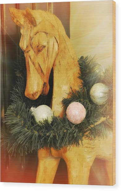 Pony For Christmas Wood Print by JAMART Photography