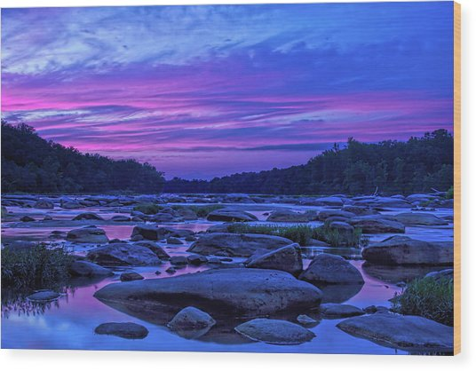 Pony Pasture Sunset Wood Print
