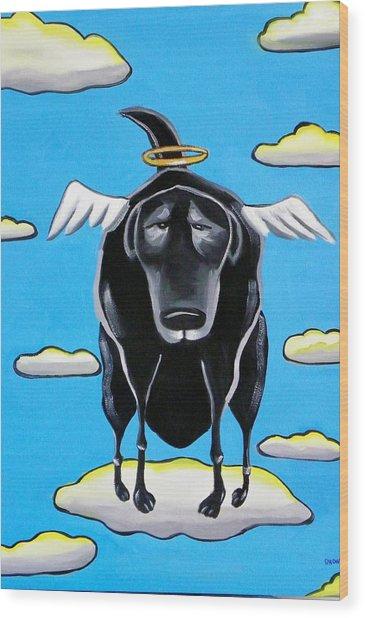 Poo Dog Goes To Heaven Wood Print by Rhondda Saunders