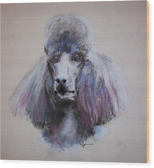 Poodle In Blue Wood Print