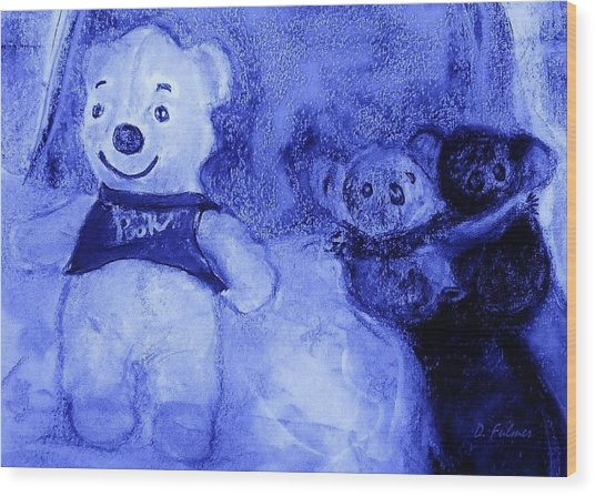 Pooh Bear And Friends Wood Print
