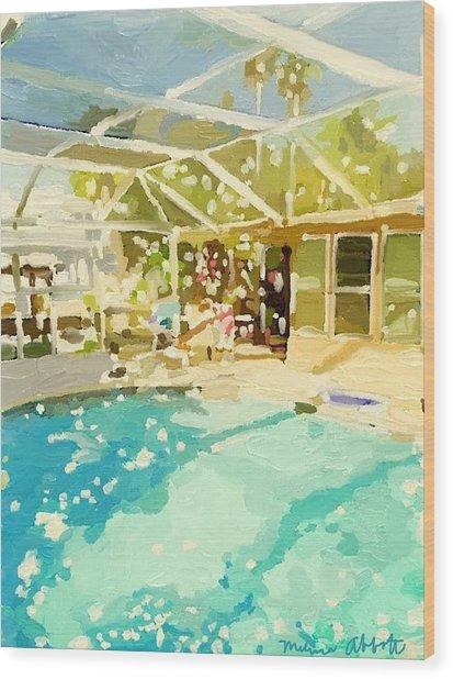 Pool And Screened Pool House Wood Print