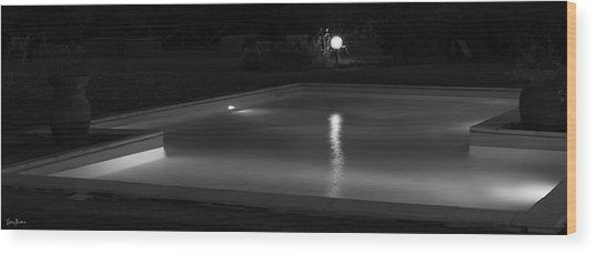 Pool At Night 2 Wood Print