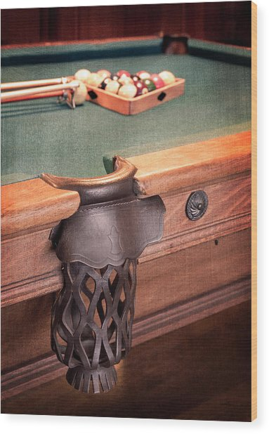Pool Table Leather Mesh Side Pocket Wood Print