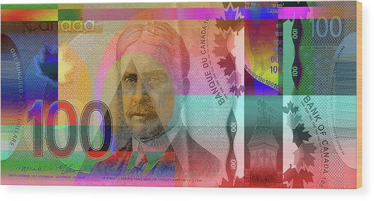 Pop-art Colorized New One Hundred Canadian Dollar Bill Wood Print