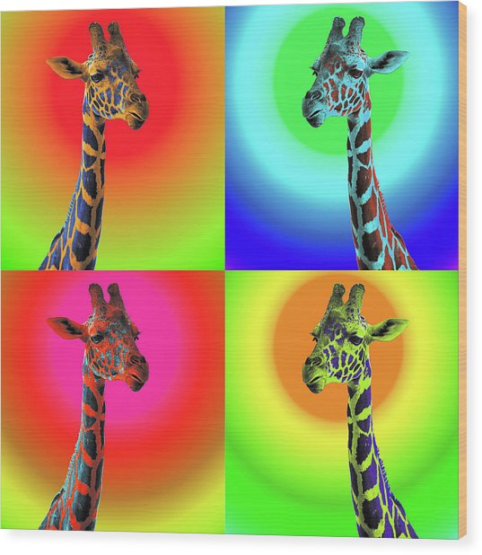 Pop Art Giraffe Wood Print