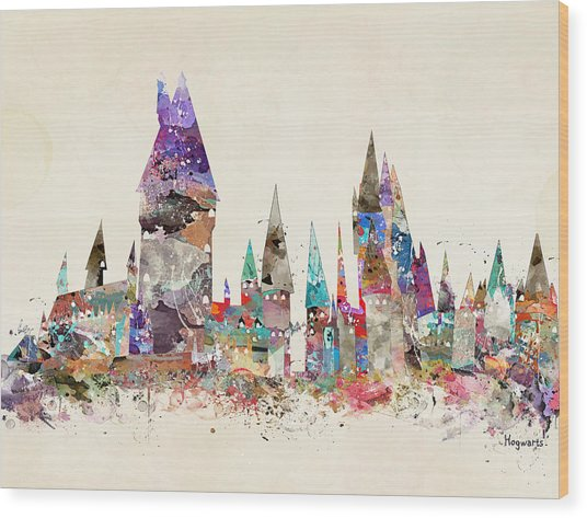 Pop Art Hogwarts Castle Wood Print
