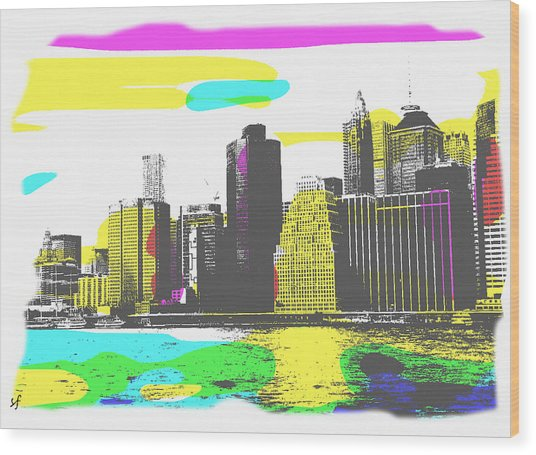 Wood Print featuring the digital art Pop City Skyline by Shelli Fitzpatrick