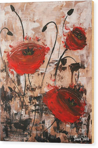 Pop Goes The Poppies Wood Print