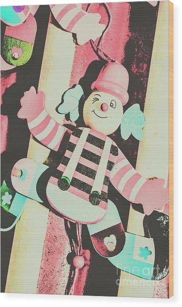 Pop Up Clown Art Wood Print