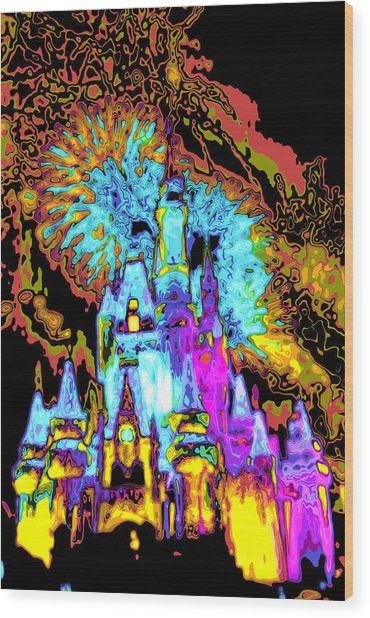 Popart Castle Wood Print by Charles  Ridgway