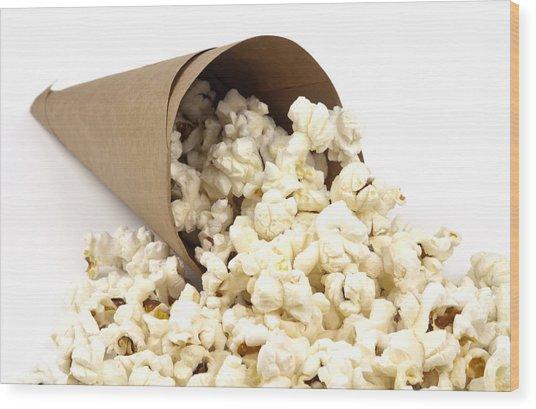 Popcorn In Paper Cone Wood Print