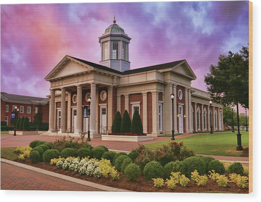 Pope Chapel Under Colorful Sky Wood Print