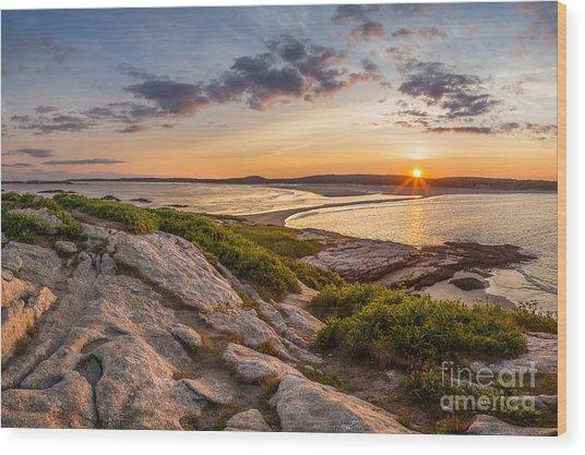 Popham Beach From Fox Island Wood Print