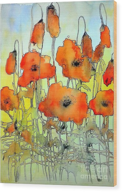 Poppies Abstraction Wood Print