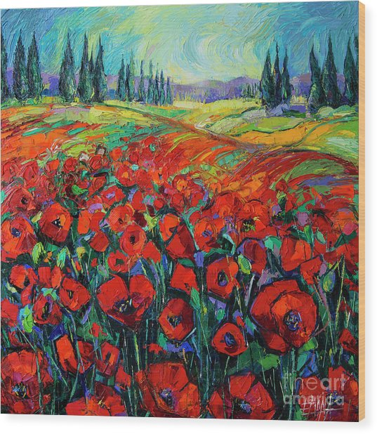 Poppies And Cypresses - Modern Impressionist Palette Knives Oil Painting Wood Print