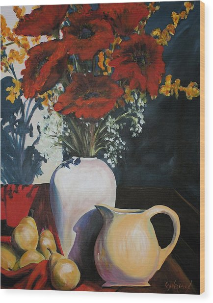 Poppies And Pears Wood Print