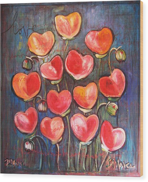 Poppies Are Hearts Of Love We Can Give Away Wood Print