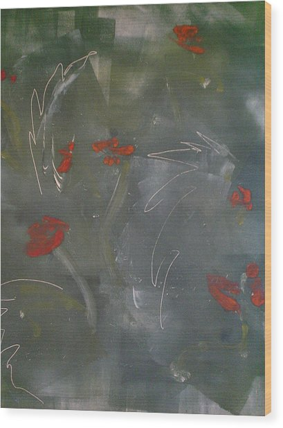 Poppies At Dawn Wood Print by Caprice Scott