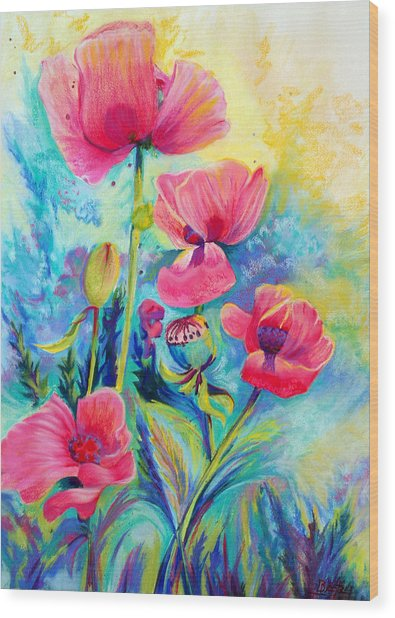 Poppies Wood Print by Bente Hansen